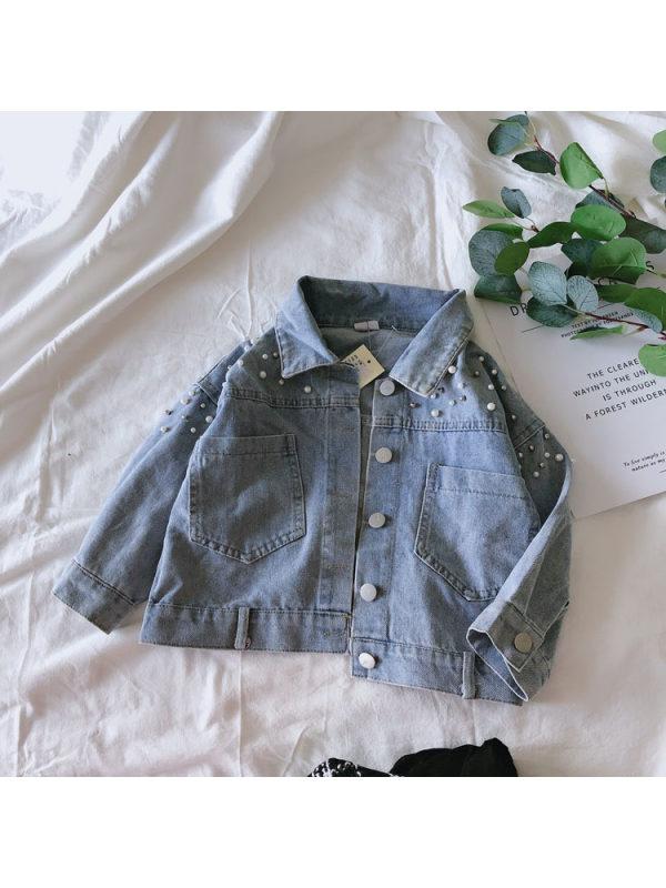 【18M-7Y】Girls Denim Beaded Jacket