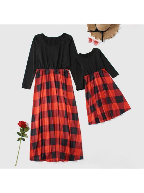 Round Neck Long Sleeve Plaid Mom Girl Matching Dress
