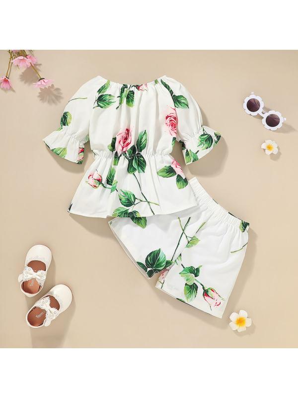 【12M-5Y】Girls Print Short Sleeve Suit