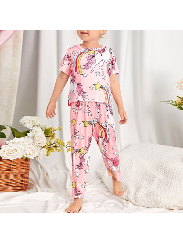 【18M-7Y】Girls Round Neck Unicorn Cartoon Print Blouse And Trousers Suit