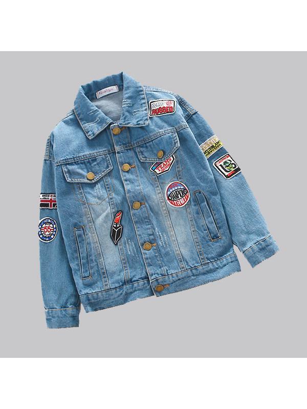 【3Y-13Y】Girls' Cartoon Pattern Denim Jacket