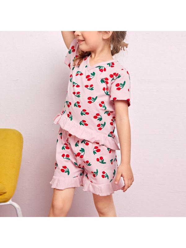 【18M-7Y】Girls V-Neck Fruit Print Short-Sleeved Top And Shorts Suit