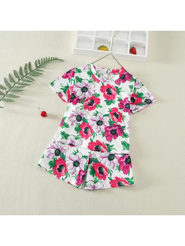 【4Y-13Y】Girls Round Neck Short Sleeve Printed Suit