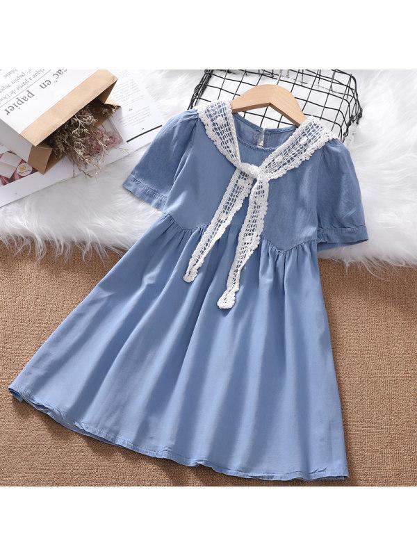 【3Y-13Y】Girls' Round Neck Short Sleeve Shawl Denim Dress