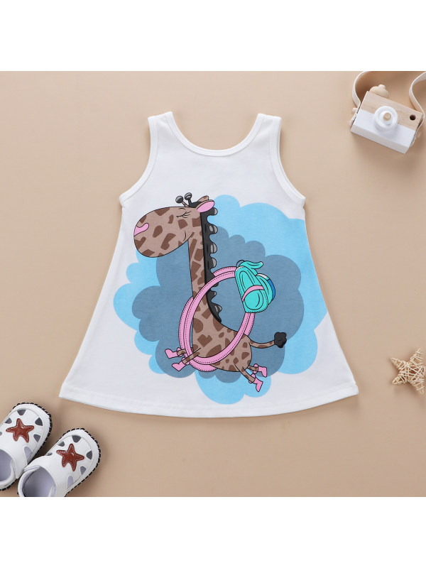【6M-4Y】Baby Sleeveless Giraffe Print Vest Dress