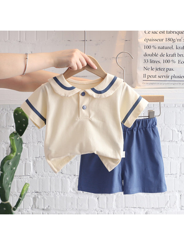 【12M-5Y】Girls College Style Lapel Loose Top And Shorts Suit