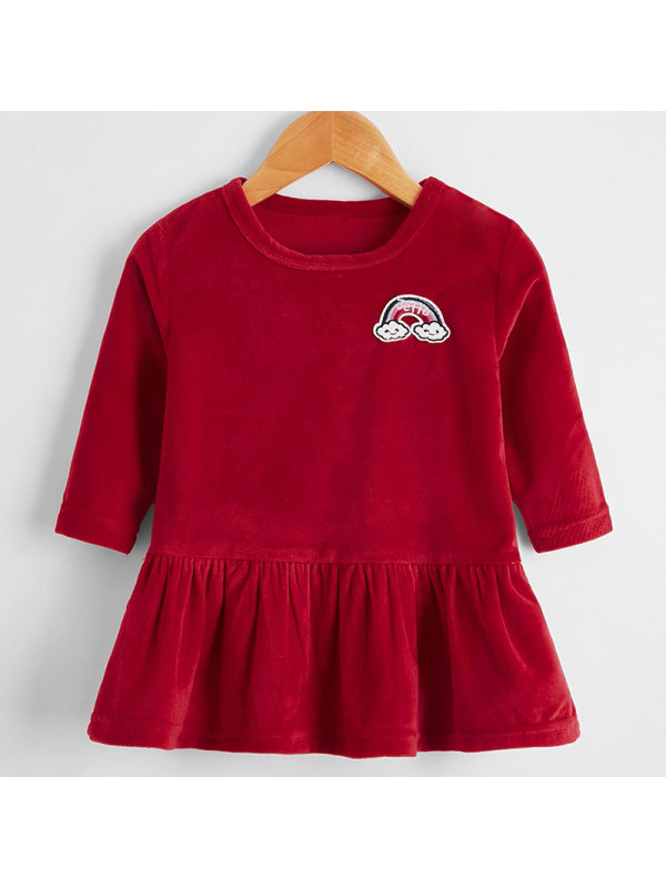【6M-2.5Y】Baby Girl Sweet Red Velvet Rainbow Embroidered Long Sleeve Dress