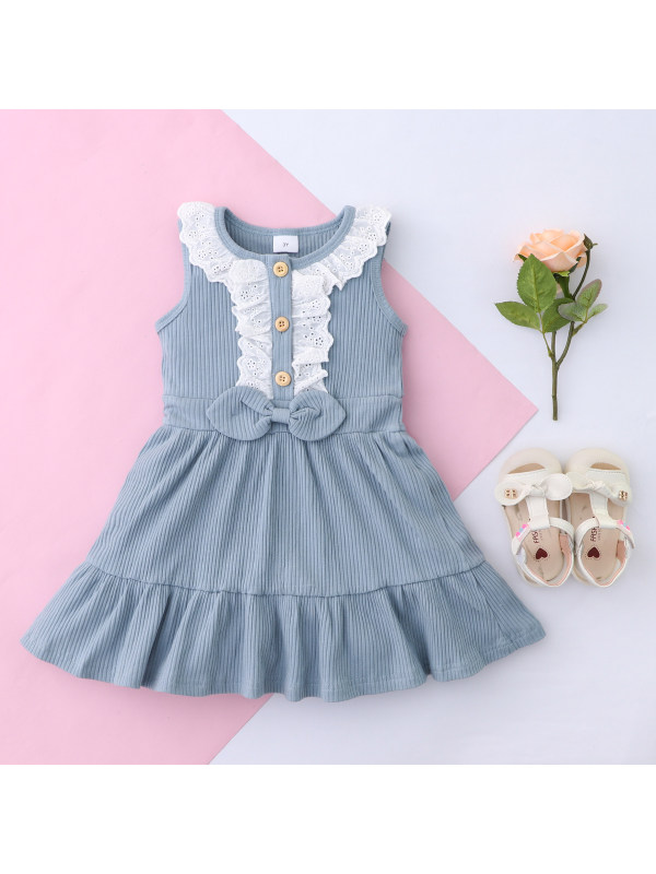 【18M-7Y】Girls Solid Color Sleeveless Dress