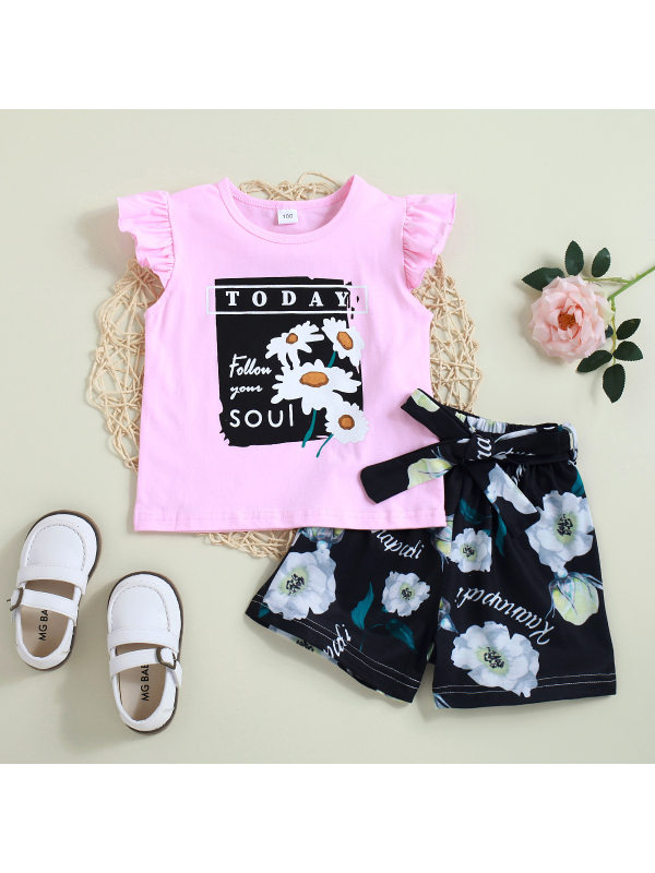 【2Y-7Y】Girl's Pink Printed Blouse And Printed Shorts 2-piece Suit