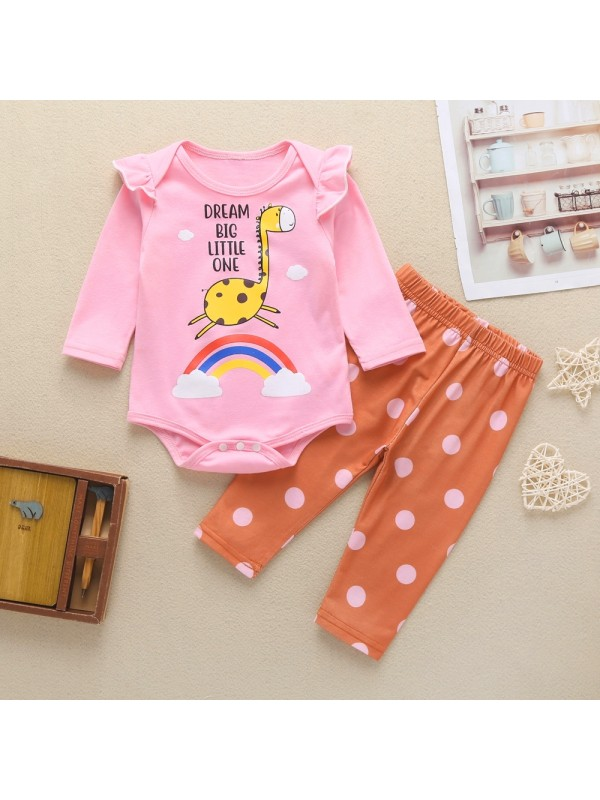 【3M-24M】Girls Giraffe Rainbow Romper Polka Dot Pants Set