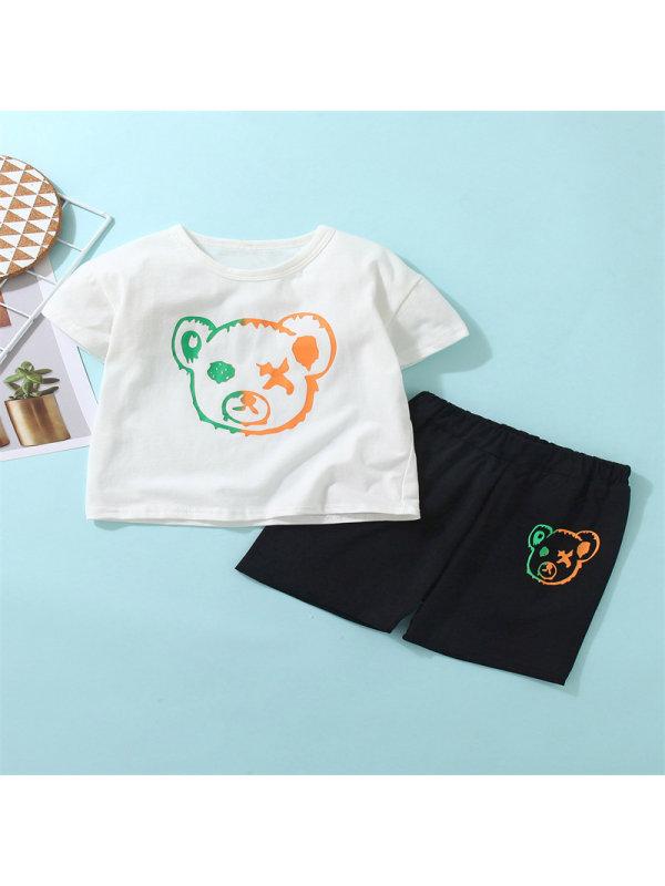 【18M-7Y】Baby Boy Bear Cartoon Print Short-sleeved T-shirt Set