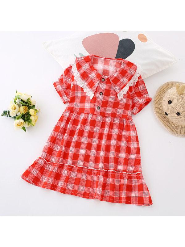 【3Y-9Y】Girls Plaid A-line Puff Sleeve Large Lapel Dress