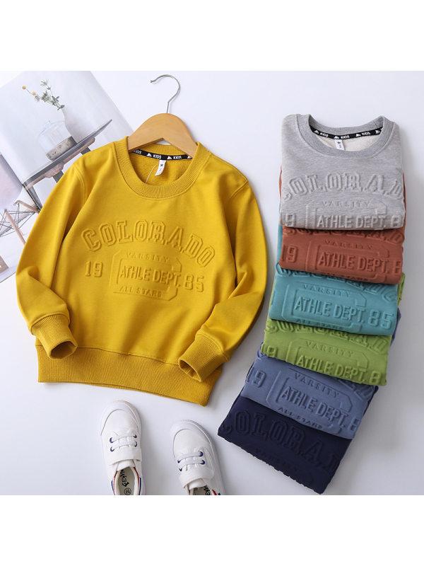 【2Y-11Y】Boys Letter Candy Color Round Neck Sweatshirt