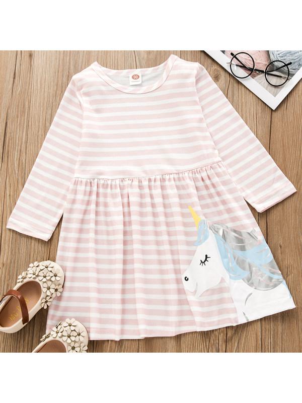 【18M-7Y】Girls Sweet Pink Striped Unicorn Pattern Long-sleeved Dress