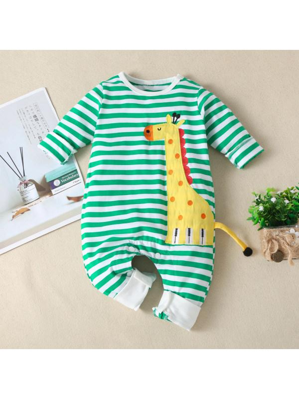 【3M-24M】Green Striped Giraffe Embroidered Romper