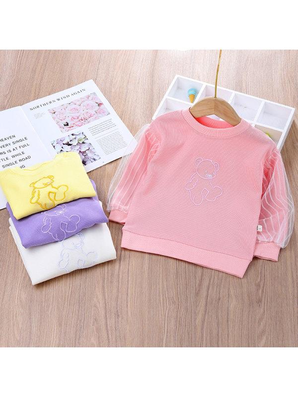 【12M-7Y】Girls Loose Lace Sleeve Card Print Sweatshirt