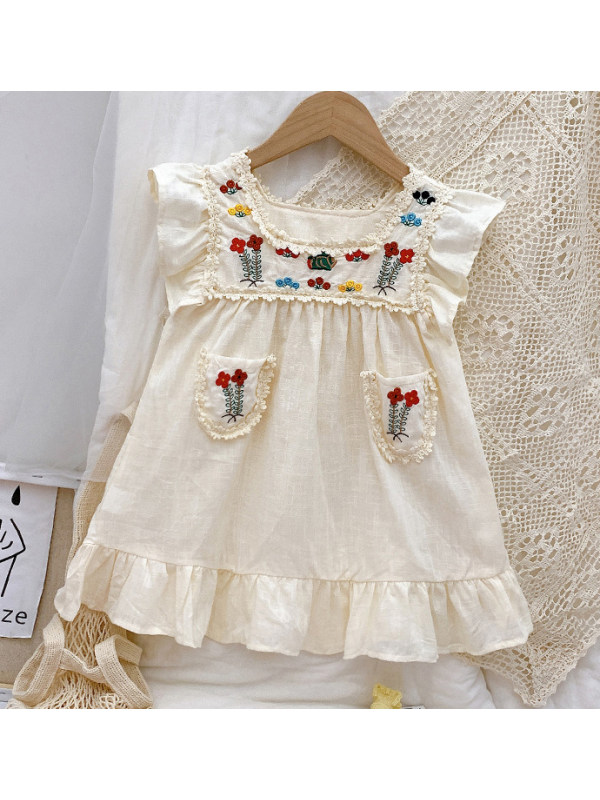 【18M-9Y】Sweet Floral Embroidered Round Neck Short Sleeve Dress