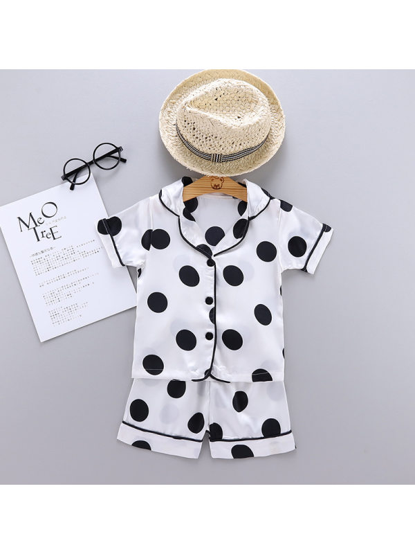 【12M-5Y】Boys Polka Dot Print Short Sleeve Top With Shorts Set