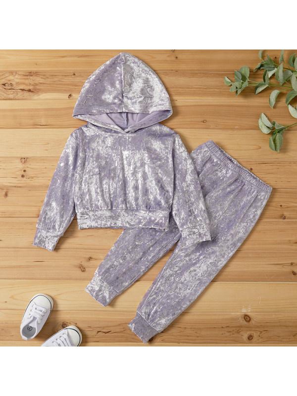 【18M-7Y】Girl Sweet Gray Velvet Hooded Sweatshirt Pants Set