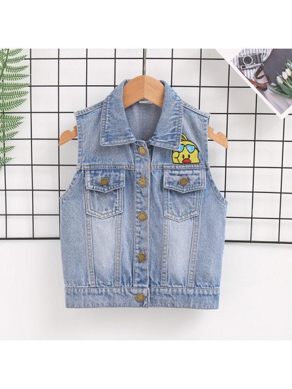 【18M-7Y】Boys Cartoon Print Sleeveless Denim Jacket