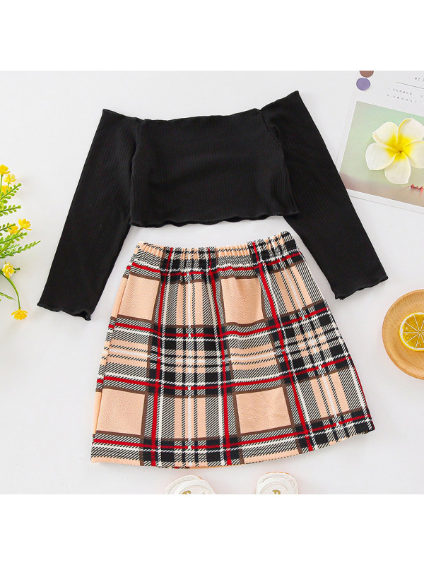 【18M-7Y】Sweet Off The Shoulder Long Sleeved Top And Plaid Skirt Set