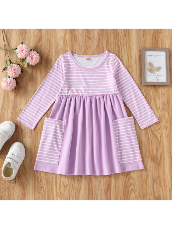 【18M-7Y】Girls Round Neck Striped Long Sleeve A-line Dress