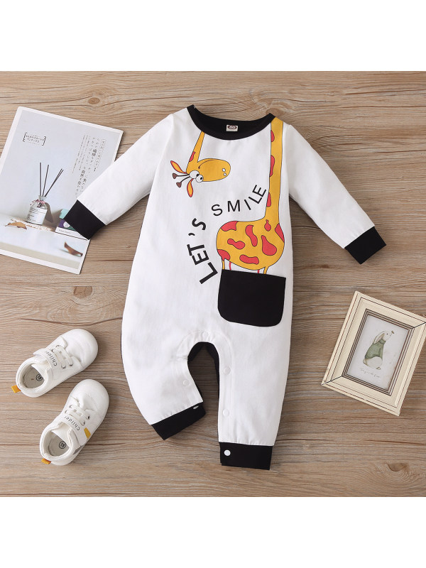【6M-24M】Baby Giraffe Print Pocket Romper