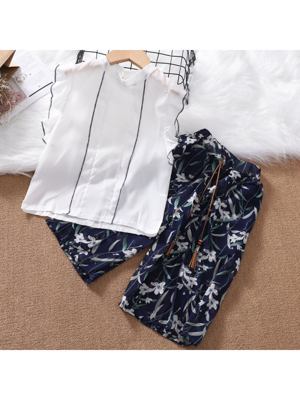 【3Y-13Y】Girls' Chiffon Flying Sleeve Round Neck Blouse and Floral Mid-length Pants Two-piece Suit