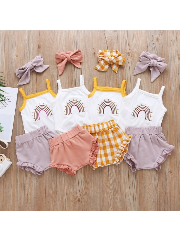 【3M-3Y】Baby Girl Sleeveless Romper Shorts Suit