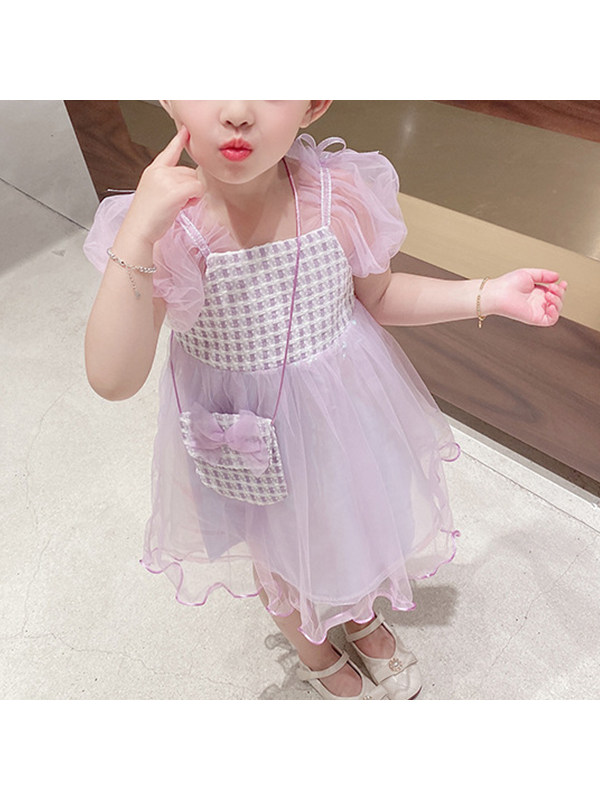 【18M-7Y】Girls' Mesh Stitching Dress