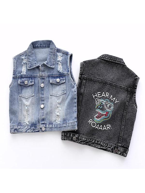 【18M-7Y】Boys Denim Vest Jacket