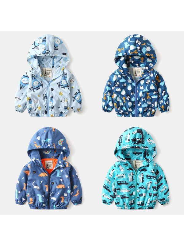 【18M-7Y】Boys Personalized Print Hooded Windproof Jacket