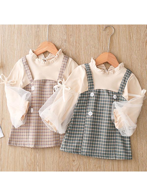 【12M-4Y】Girls Sweet Plaid Puff Sleeve Fake Two-piece Dress
