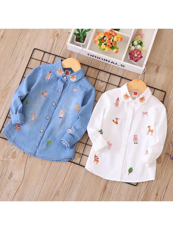 【2Y-13Y】Girls Cartoon Embroidery Long-sleeved Shirt