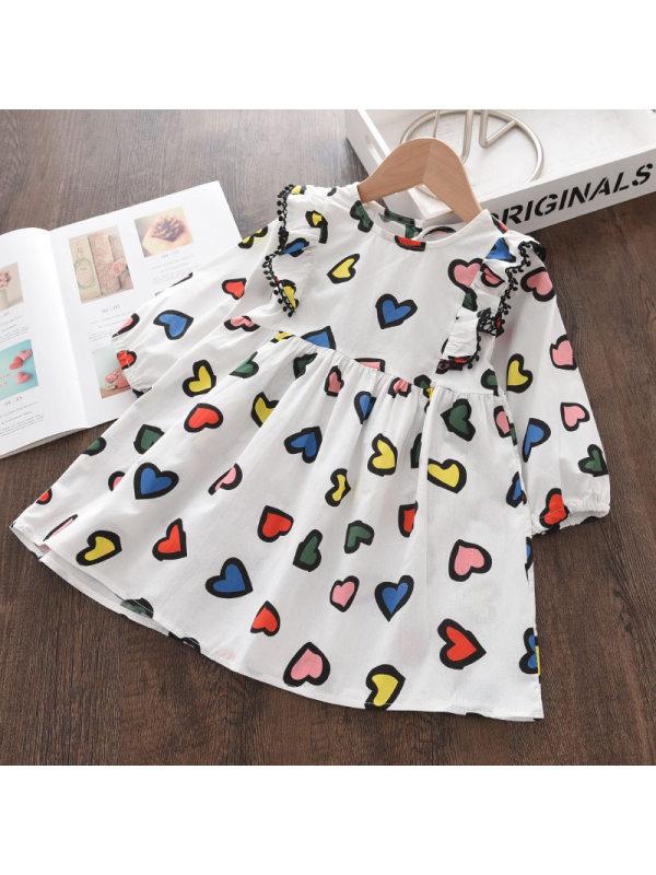 【18M-9Y】Girls Cartoon Love Pattern Print Dress