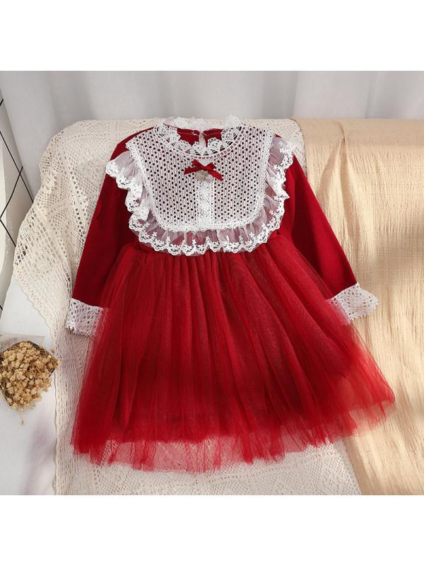【3Y-13Y】Girls Lace Stitching Mesh Princess Dress
