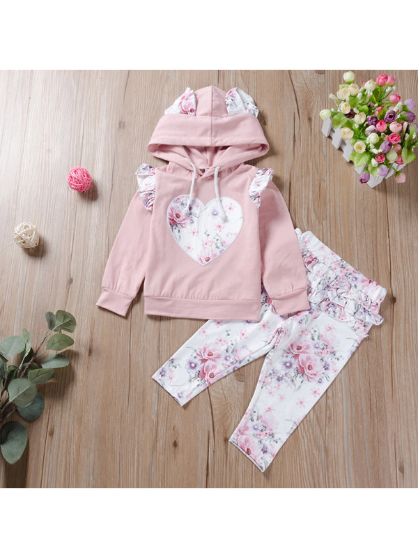 【6M-3Y】Girl Bunny Hat Head Love Blouse Printed Trousers Suit