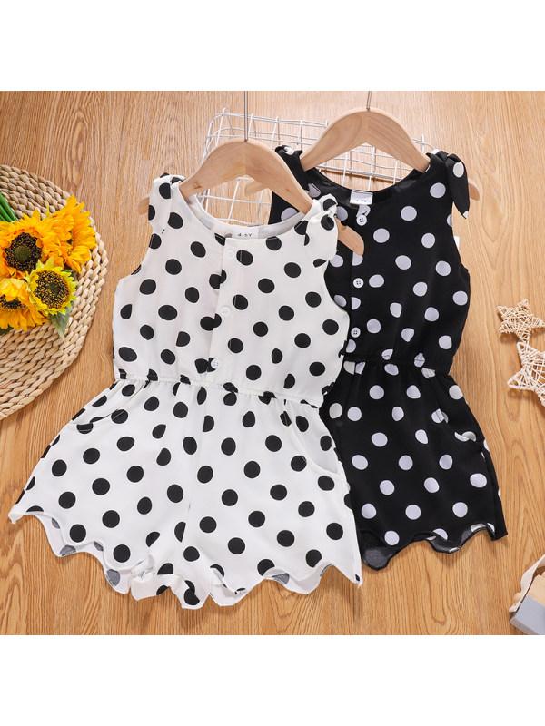 【4Y-13Y】Girls' Round Neck Sleeveless Black and White Polka Dot Jumpsuit