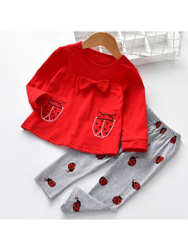 【3M-3Y】Fun Ladybug Embroidery Bow Tee And Pants Set