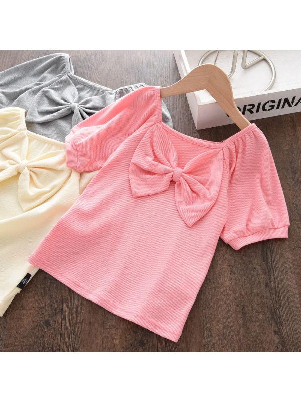 【18M-7Y】Girls Sweet Bow Puff Sleeve T-shirt