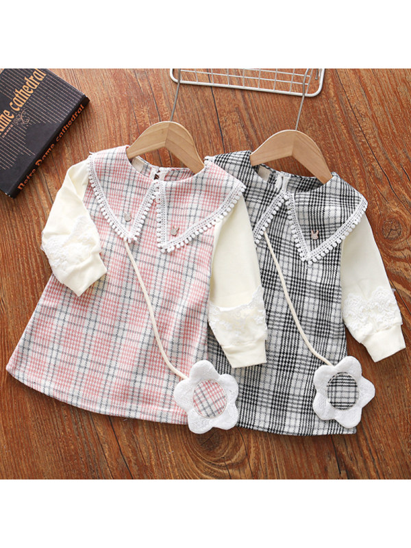 【18M-5Y】Girls Sweet Plaid Long-sleeved Dress With Bag