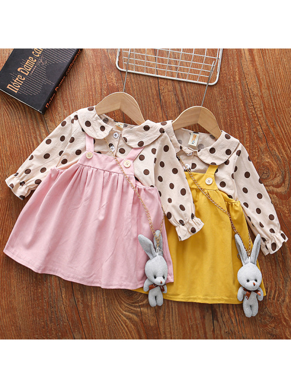 【18M-5Y】Girls Sweet Polka Dot Long-sleeved Fake Two-piece Dress With Bunny