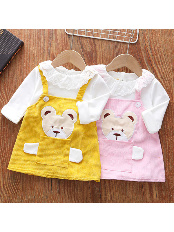 【18M-5Y】Girls Sweet Bear Embroidery Long-sleeved Fake Two-piece Dress
