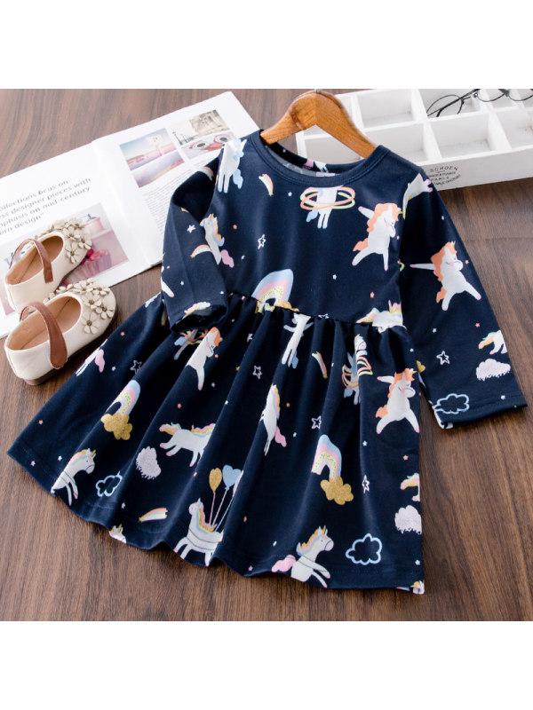 【18M-7Y】Girls Sweet Velvet Unicorn Pattern Long-sleeved Dress