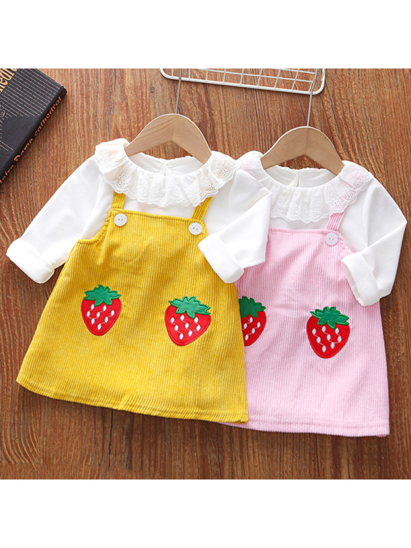 【18M-5Y】Girls Sweet Strawberry Embroidery Long-sleeved Fake Two-piece Dress