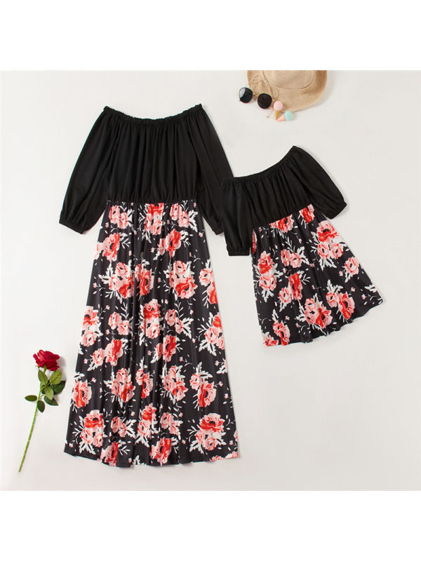 Off-the-shoulder Floral Print Stitching Mom Girl Matching Dress