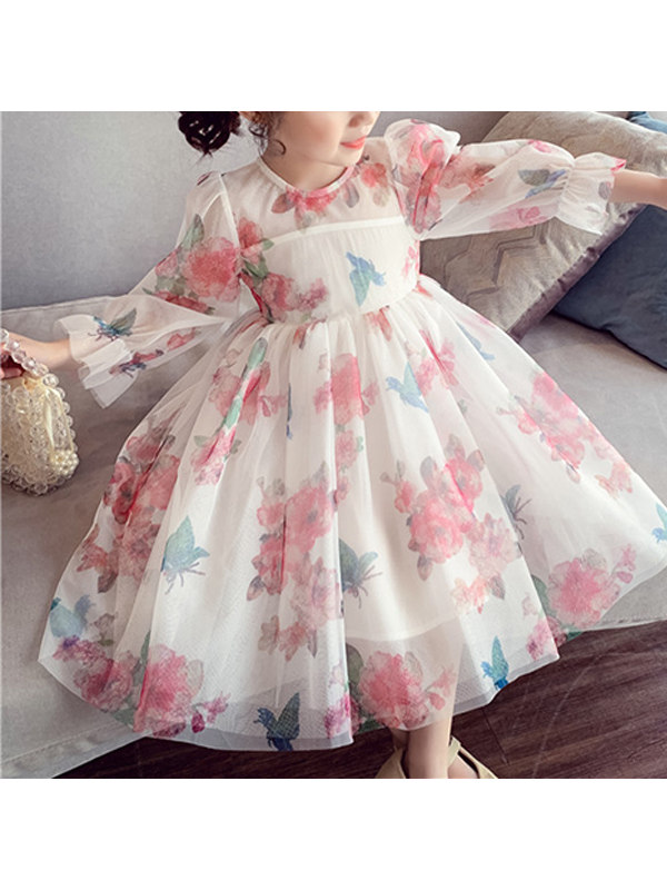 【3Y-13Y】Girls Butterfly Floral Print Sweet Mesh Dress