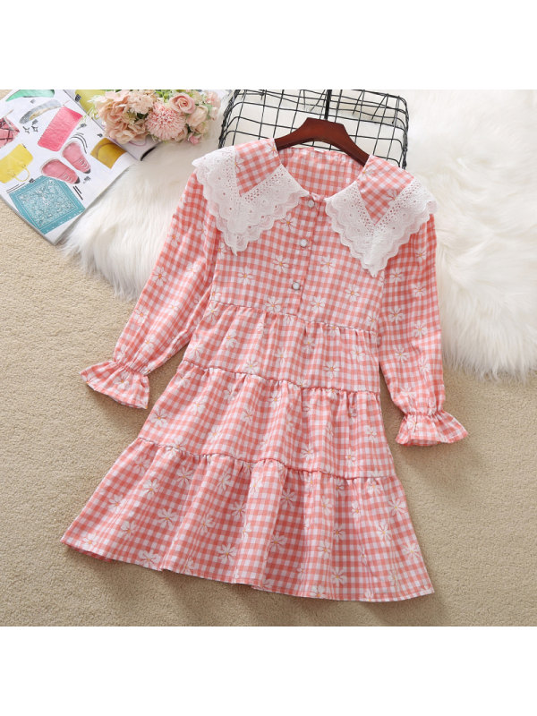 【3Y-13Y】Girls Double-layer Plaid Long-sleeved Dress
