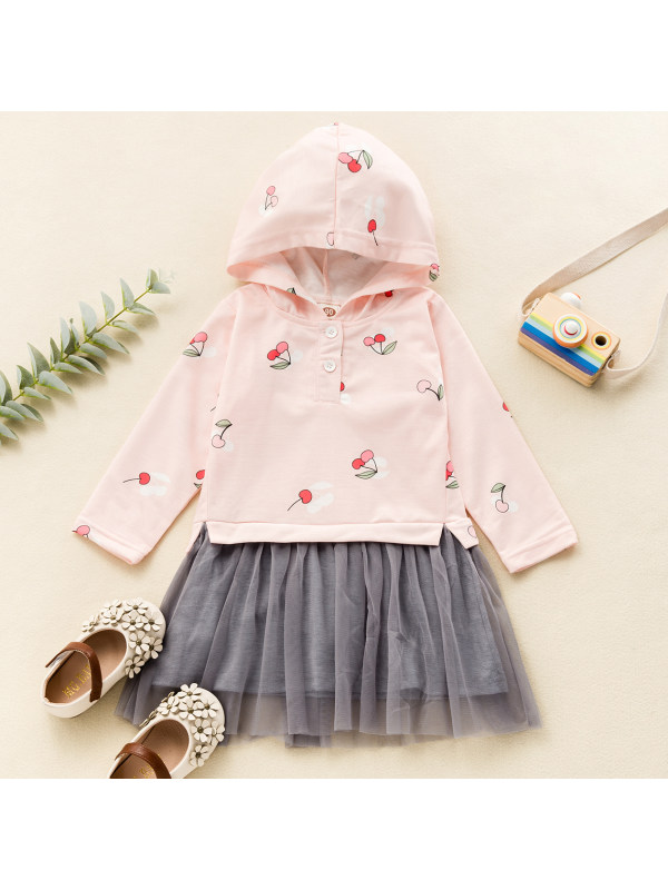 【18M-7Y】Girls Sweet Pink Cherry Pattern Long-sleeved Mesh Dress