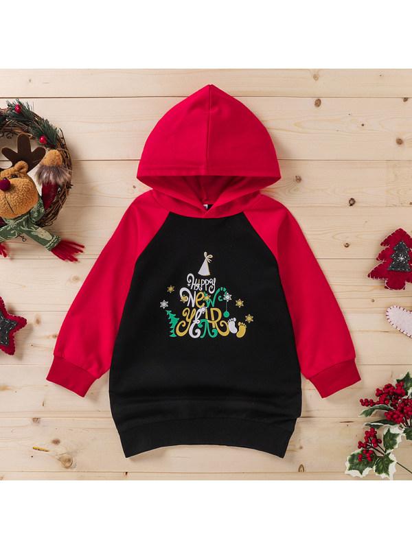 【3Y-11Y】Girl's Hooded Letter Print Christmas Long-sleeved Sweatshirt